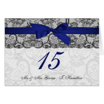 Faux lace and ribbon navy blue table number cards