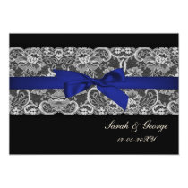 Faux lace and ribbon navy blue wedding invites
