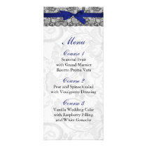 Faux lace and ribbon navy blue  wedding Menu