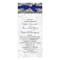 Faux lace and ribbon navy blue wedding programs