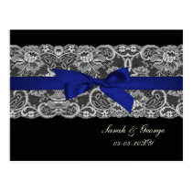 Faux lace and ribbon navy blue wedding rsvp postcard