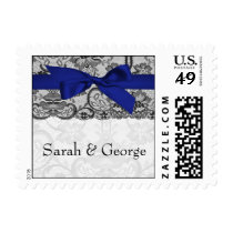 Faux lace and ribbon navy blue wedding stamps