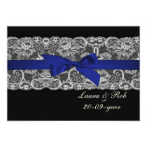 Faux lace and ribbon navy blue wedding Thank You Card