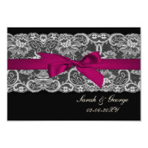 Faux lace and ribbon pink , black  3.5 x 5 rsvp card