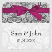 Faux lace and ribbon pink ,black  envelope seals