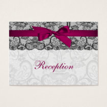 Faux lace and ribbon pink, black  reception cards