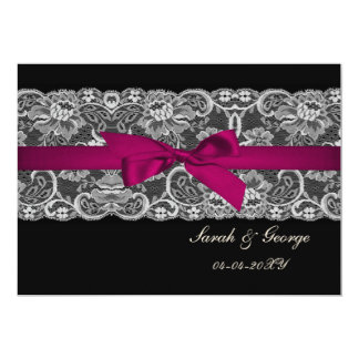 Faux lace and ribbon pink, black  save the date card
