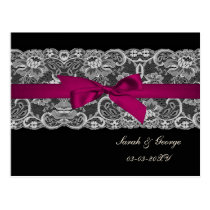 Faux lace and ribbon pink, black  save the date postcard
