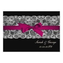 Faux lace and ribbon pink , black  wedding invites
