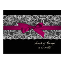 Faux lace and ribbon pink, black  wedding rsvp postcard