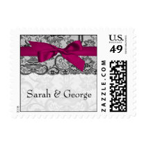 Faux lace and ribbon pink , black  wedding stamps