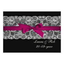 Faux lace and ribbon pink black  wedding Thank You Card