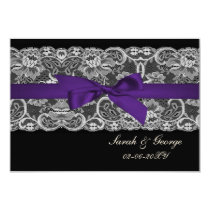 Faux lace and ribbon purple black  3.5 x 5 rsvp card