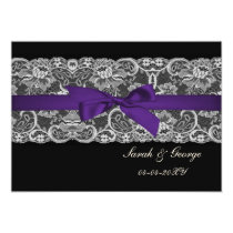 Faux lace and ribbon purple black  save the date card