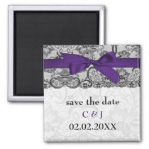 Faux lace and ribbon purple black save the date magnet