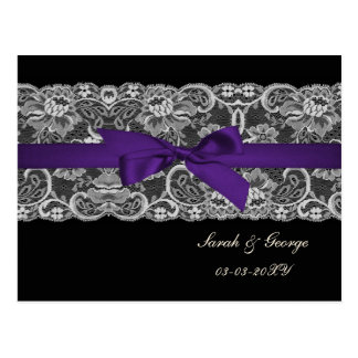 Faux lace and ribbon purple black  save the date postcard