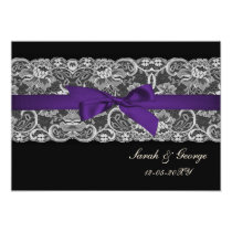 Faux lace and ribbon purple black  wedding invites