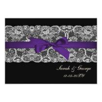 Faux lace and ribbon purple black  wedding invites