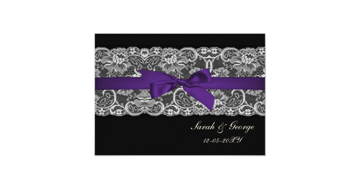 Wedding Invitations With Purple Ribbon: Faux Lace And Ribbon Purple Black Wedding Invites