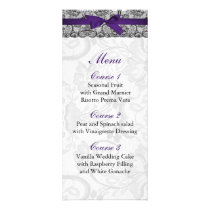 Faux lace and ribbon purple black  wedding Menu