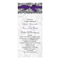 Faux lace and ribbon purple black wedding programs