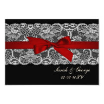 Faux lace and ribbon red , black  3.5 x 5 rsvp card
