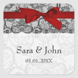 Faux lace and ribbon red ,black  envelope seals square sticker