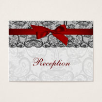 Faux lace and ribbon red, black  reception cards