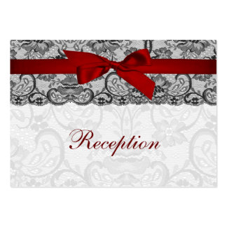 Faux lace and ribbon red, black  reception cards large business cards (Pack of 100)