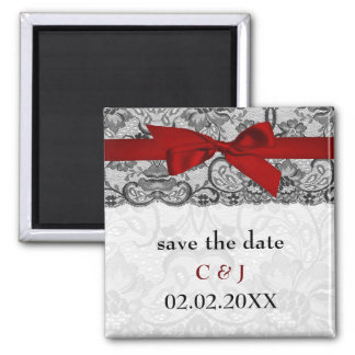 Faux lace and ribbon red, black  save the date 2 inch square magnet