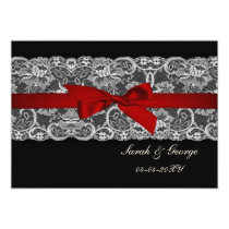 Faux lace and ribbon red, black  save the date card