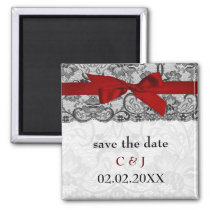 Faux lace and ribbon red, black  save the date magnet