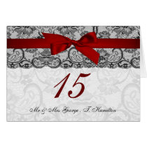 Faux lace and ribbon red, black table number cards
