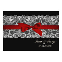 Faux lace and ribbon red , black  wedding invites