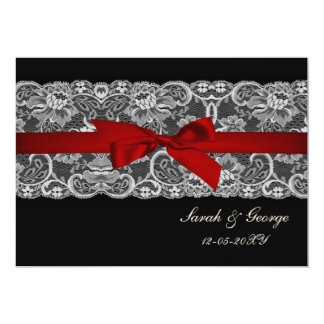 """Faux lace and ribbon red , black  wedding invites 5"""" x 7"""" invitation card"""