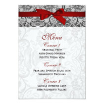 Faux lace and ribbon red ,black  wedding Menu Card