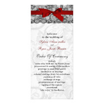 Faux lace and ribbon red , black  wedding programs