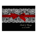 Faux lace and ribbon red , black  wedding rsvp post cards