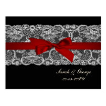 Faux lace and ribbon red , black  wedding rsvp postcard
