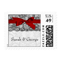 Faux lace and ribbon red , black  wedding stamps