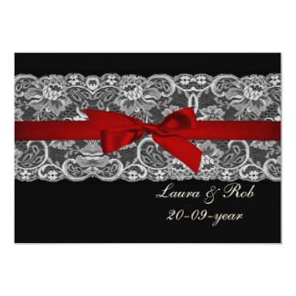 Faux lace and ribbon red ,black  wedding Thank You Card