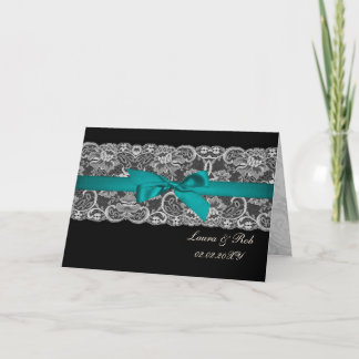 Faux lace and ribbon red ,black  wedding Thank You Note Card
