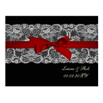 Faux lace and ribbon red ,black  wedding Thank You Postcard