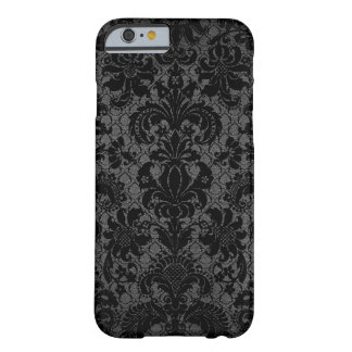 faux lace black gray damask pattern barely there iPhone 6 case