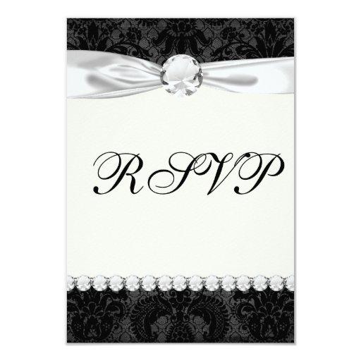 faux lace black gray damask pattern card