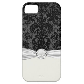 faux lace black gray damask pattern iPhone 5 case
