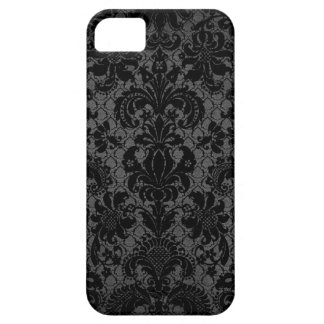 faux lace black gray damask pattern iPhone 5 cases