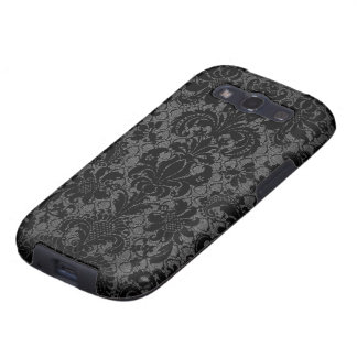 faux lace black gray damask pattern galaxy SIII cases