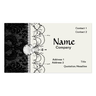 faux lace black gray damask pattern Double-Sided standard business cards (Pack of 100)