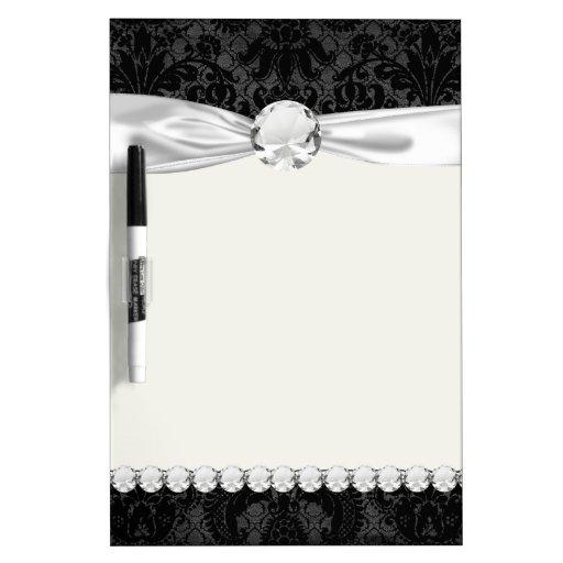 faux lace black gray damask pattern Dry-Erase whiteboards